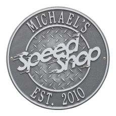 Speed Shop Plaque, Pewter/Silver, Pewter/Silver