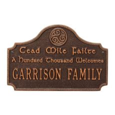 Cead Mile Failte Plaque, Antique Copper