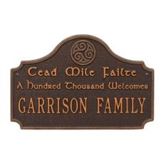 Cead Mile Failte Plaque, Oil Rubbed Bronze