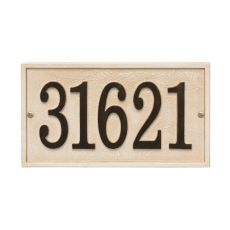 Stonework Rectangle House Numbers Plaque, Green Gold