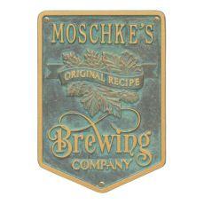 Custom Original Recipe Brewing Company Beer Plaque, Pewter / Silver