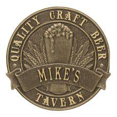 Custom Quality Craft Beer Tavern Round Plaque, Bronze Verdigris