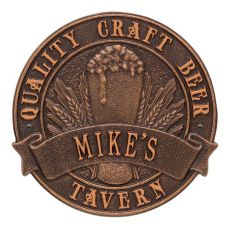 Personalized Quality Craft Beer Tavern Round Plaque, Oil Rubbed Bronze