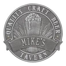 Custom Quality Craft Beer Tavern Round Plaque, Black / Gold