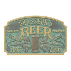 Custom Quality Crafted Beer Arch Plaque, Pewter / Silver