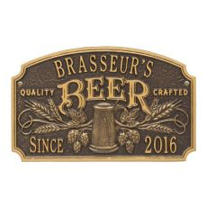 Custom Quality Crafted Beer Arch Plaque, Antique Copper