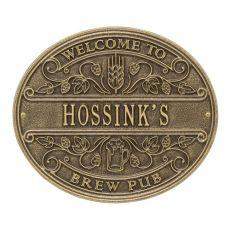 Custom Brew Pub Welcome Plaque, Bronze Verdigris