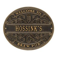 Custom Brew Pub Welcome Plaque, Dark Bronze / Gold