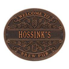 Custom Brew Pub Welcome Plaque, Antique Brass