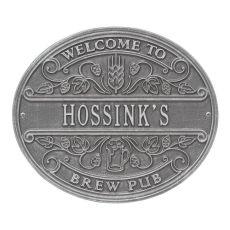 Custom Brew Pub Welcome Plaque, Black / Gold