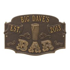 Custom Established Bar Plaque, Antique Copper