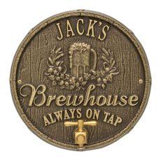 Custom Oak Barrel Beer Pub Plaque, Bronze Verdigris