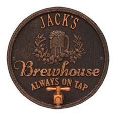 Custom Oak Barrel Beer Pub Plaque, Antique Brass