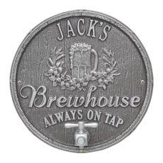 Custom Oak Barrel Beer Pub Plaque, Black / Gold