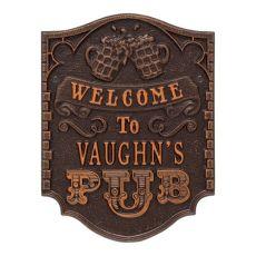 Custom Pub Welcome Plaque, Oil Rubbed Bronze