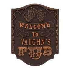Personalized Pub Welcome Plaque, Antique Brass