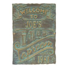 Personalized Tap Room Brew Pub Plaque, Pewter / Silver