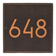 Square Modern Personalized Wall Plaque, Aged Bronze
