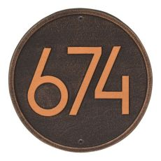 Round Modern Personalized Wall Plaque, Aged Bronze