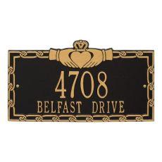 Claddagh Address Plaque, White/Black