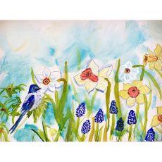 Bird & Daffodil Door Mat 18X26