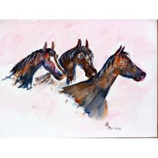 Three Horses Door Mat 18X26