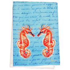 Coral Sea Horses Blue Script Guest Towel