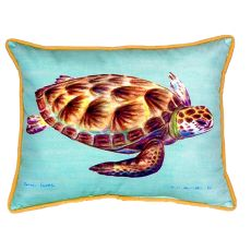 Green Sea Turtle - Teal Large Indoor/Outdoor Pillow 16X20