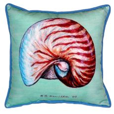 Nautilus Shell - Teal Large Indoor/Outdoor Pillow 18X18
