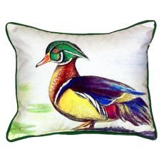 Male Wood Duck Script Large Indoor/Outdoor Pillow 16X20