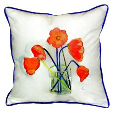 Poppies In Vase Large Indoor/Outdoor Pillow 18X18