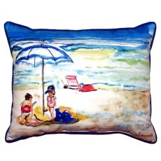 Playing On The Beach Large Indoor/Outdoor Pillow 16X20