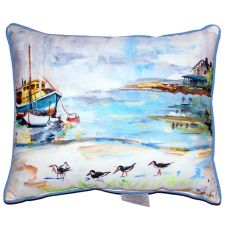 Boat & Sandpipers Large Indoor/Outdoor Pillow 16X20