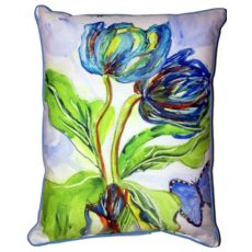 Tulips & Morpho Large Indoor/Outdoor Pillow 16X20