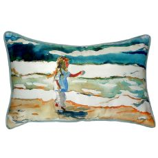 Girl At The Beach Large Indoor/Outdoor Pillow 16X20