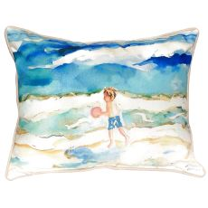 Boy And Ball Large Indoor/Outdoor Pillow 16X20