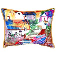 Boats At Steps Large Indoor/Outdoor Pillow 16X20
