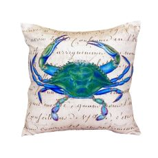 Male Blue Crab Beige No Cord Pillow 18X18
