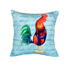 Blue Rooster Script - No Cord Pillow 18X18