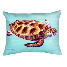 Green Sea Turtle - Teal No Cord Pillow 16X20