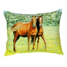 Two Horses No Cord Pillow 16X20