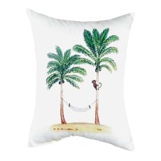 Palm Trees & Monkey No Cord Pillow 16X20