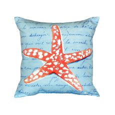 Coral Starfish Blue No Cord Pillow 18X18