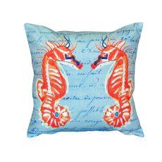 Coral Sea Horses Blue No Cord Pillow 18X18
