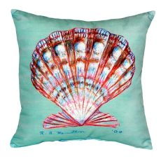 Scallop Shell - Teal No Cord Pillow 18X18