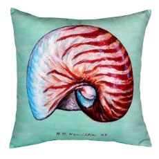 Nautilus Shell - Teal No Cord Pillow 18X18