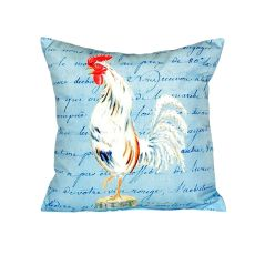 White Rooster Script No Cord Pillow 18X18