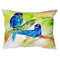 Two Blue Parrots No Cord Pillow 16X20