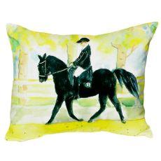 Black Horse & Rider No Cord Pillow 16X20