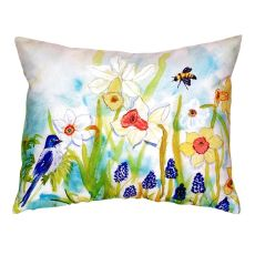 Bird & Daffodils No Cord Pillow 18X18